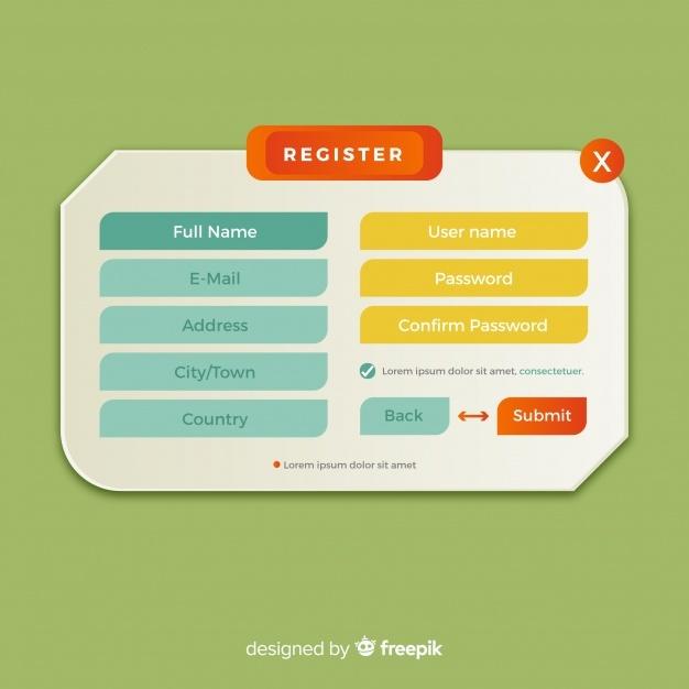 Free Online registration form SVG DXF EPS PNG.
