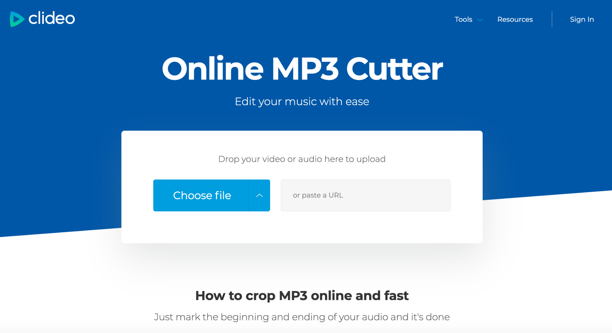 How to cut your audio online — Clideo.