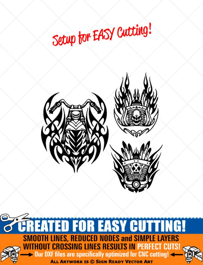 Tribal Flames Motorcycle Biker Clipart.