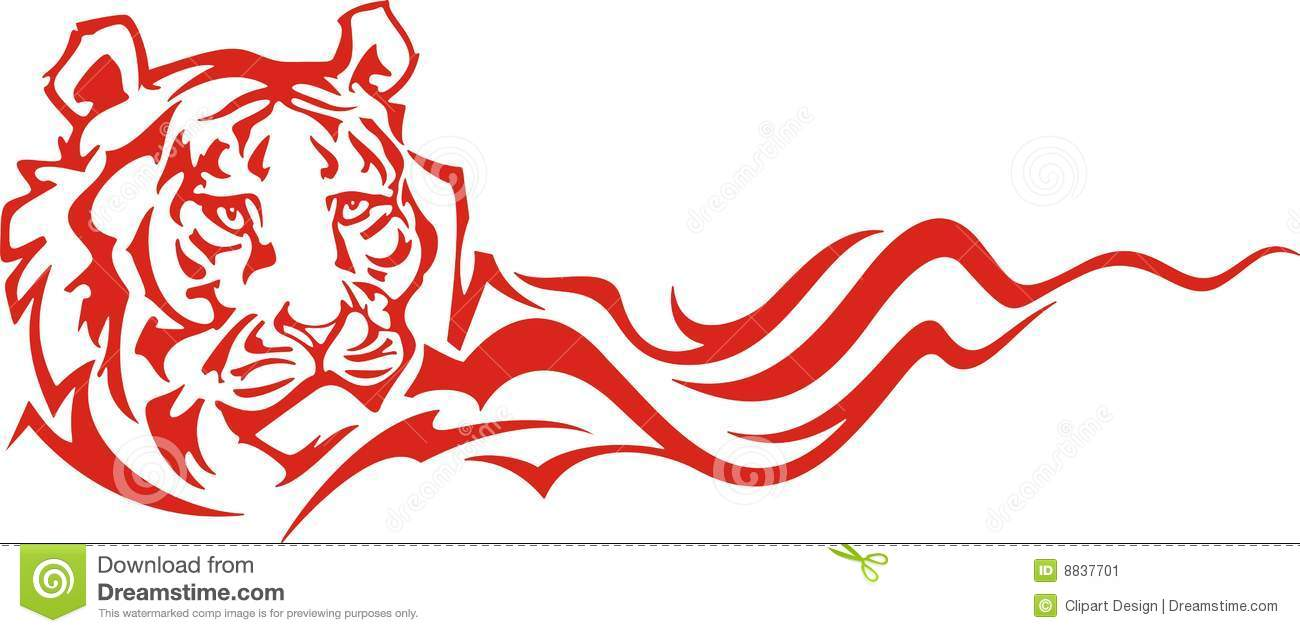 Flaming Tiger stock illustration. Illustration of clipart.