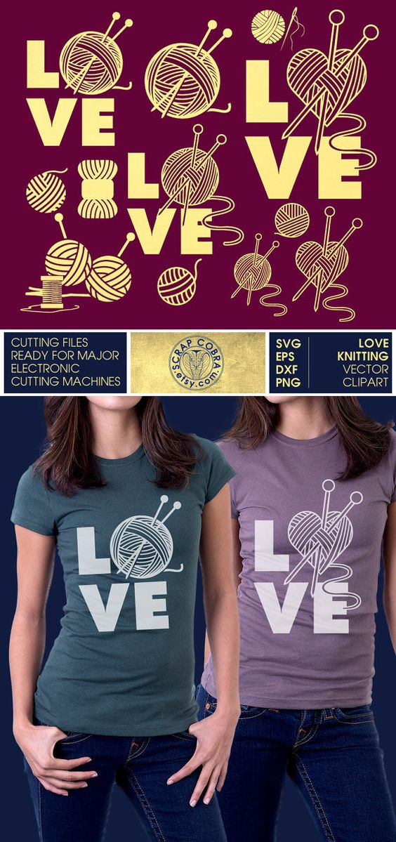 Love Knitting Digital Vector Clipart. Cut Files svg by ScrapCobra.