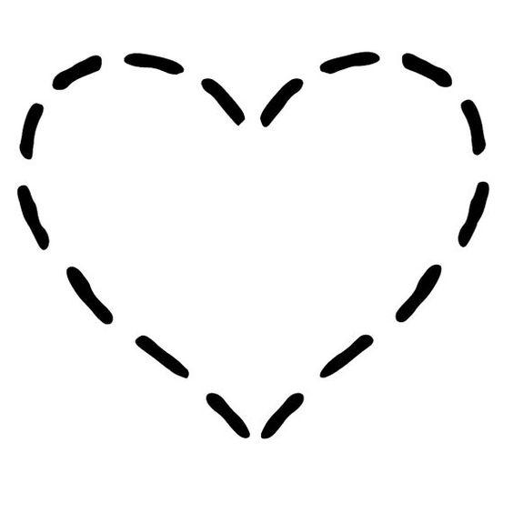 Single stitched heart laser cut stencil por PearlDesignStudio.