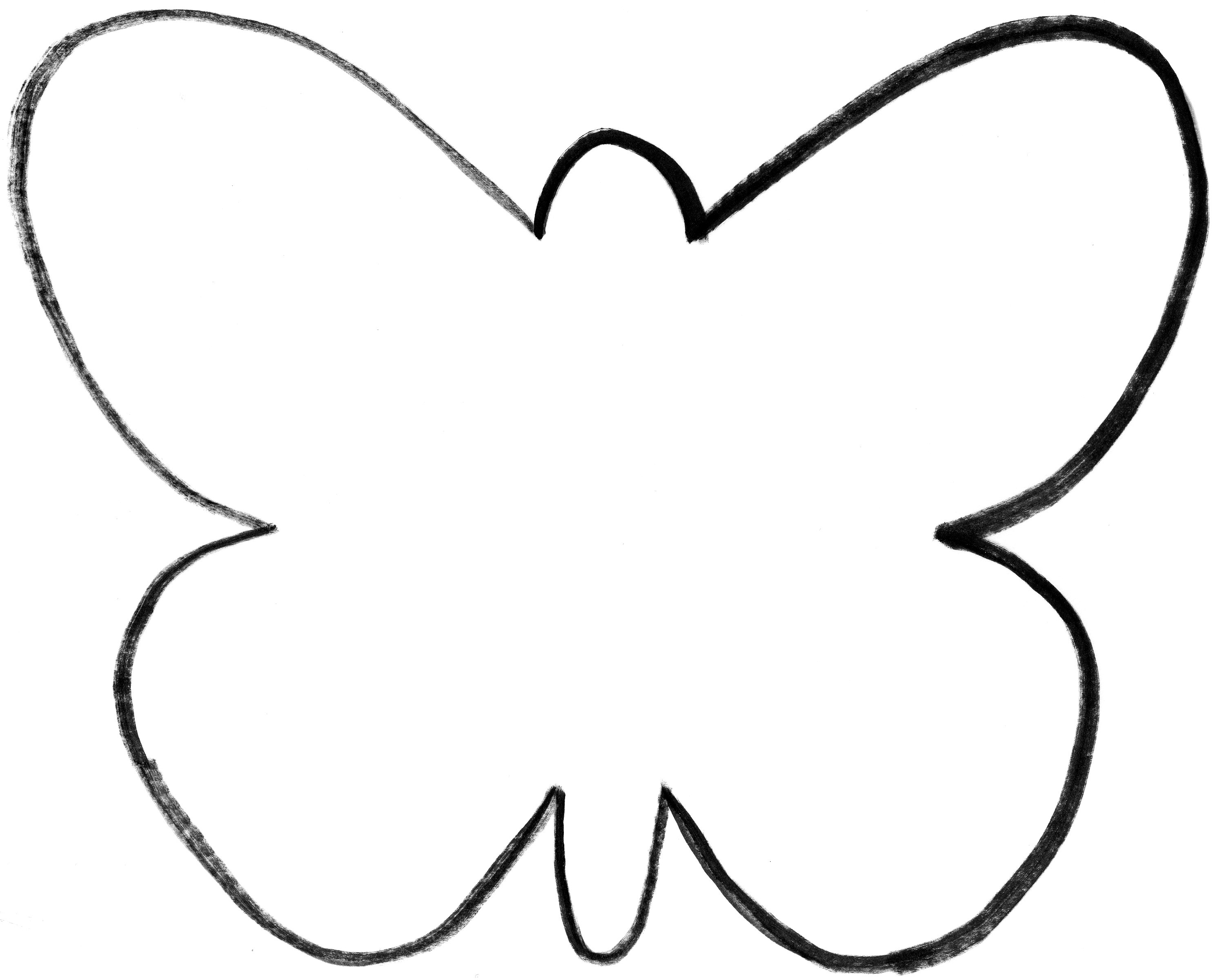 Butterfly stencil clipart black and white.