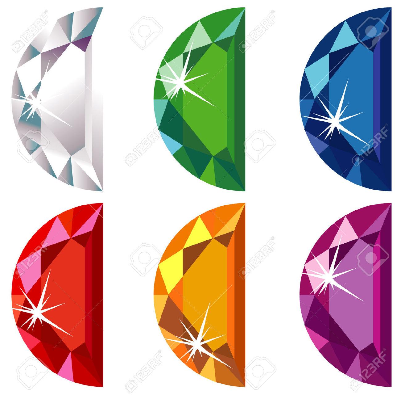 Half Moon Cut Precious Stones With Sparkle Royalty Free Cliparts.