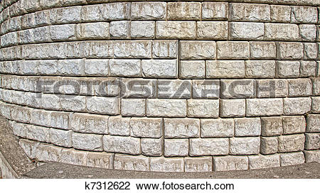 Stock Photo of Curved Cut stone block wall k7312622.