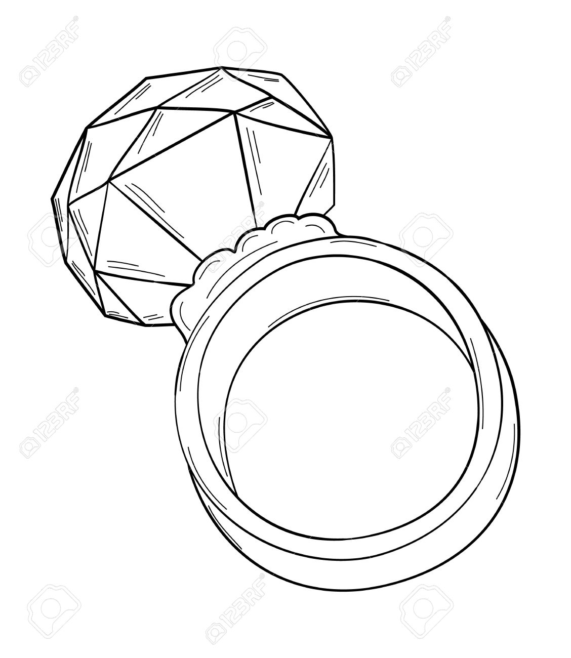 Gold Ring With Big Cut Stone, Sketch, Isolated Royalty Free.