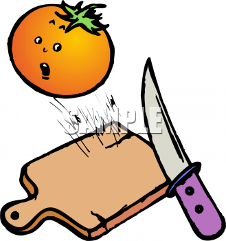 Food Clip Art of a Knife About to Cut a Scared Tomato.