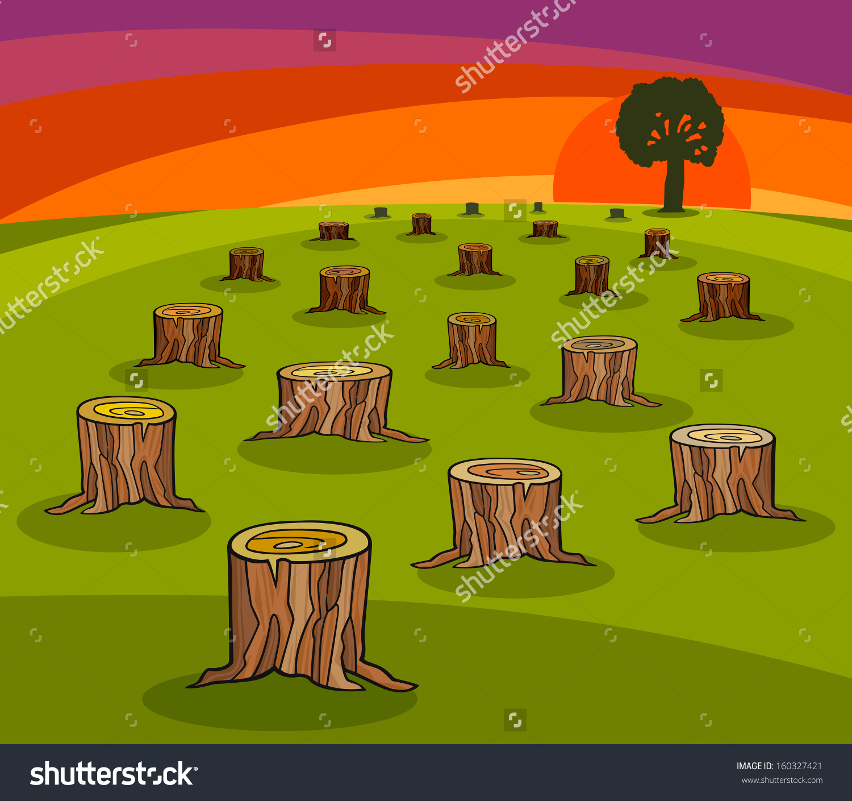 Cartoon Vector Ecological Concept Illustration Trunks Stock Vector.