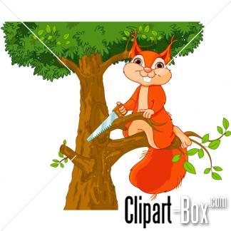 CLIPART SQUIRREL CUTTING TREE.