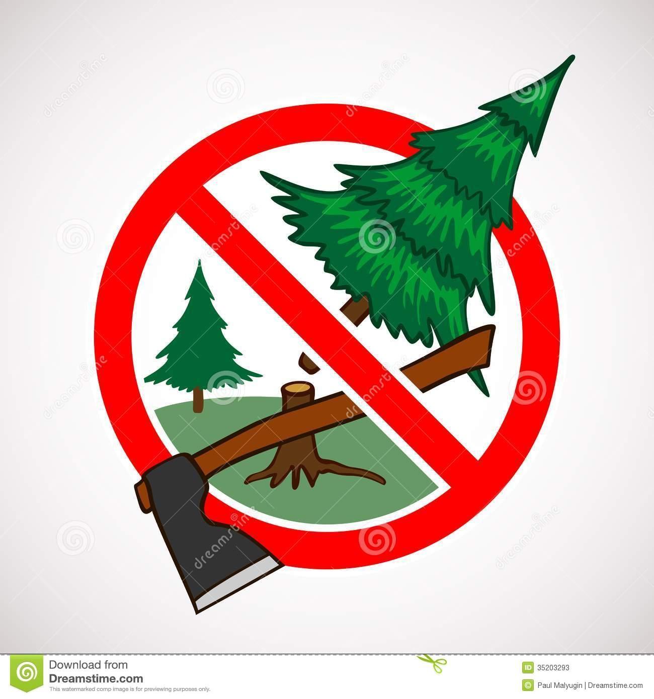 Do not cut trees clipart.