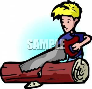 Blond Boy Using a Saw To Cut Up a Log.