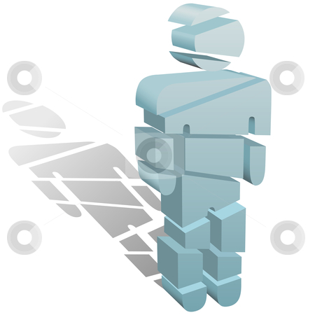 Sliced symbol person cut up in pieces stock vector.