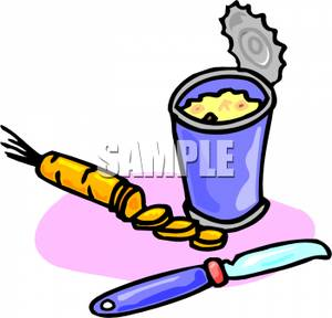 An_Opened_Can_Soup_a_Half_Cut_Up_Carrot_and_a_Knife_Royalty_Free_Clipart_Picture_110422.
