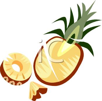 Cut Up Pineapple Clipart Image.