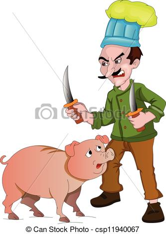 Clip Art Vector of Chef with Knives to Cut Up a Pig, illustration.