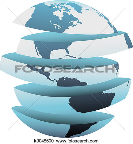 Clipart of Earth slice America cut up globe pieces k3045600.