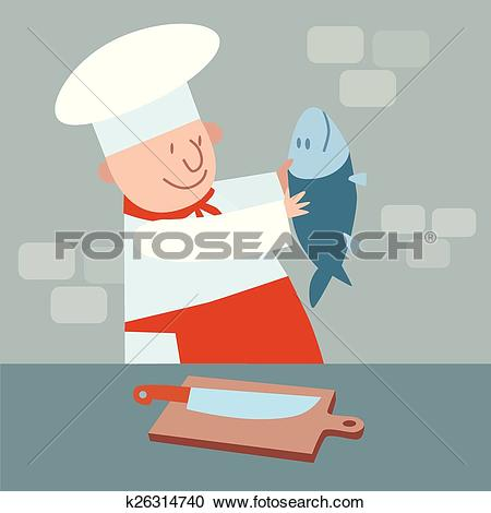 Clipart of Cook cut up fresh fish. chef in kitchen k26314740.