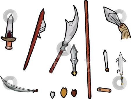 Asian Weapons Set I stock vector.