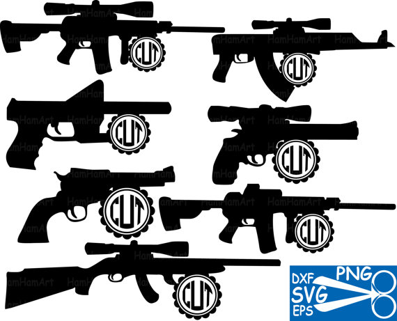 Cutting files SVG DXFEPS Hunting Gun Arms Clip Art by HamHamArt.