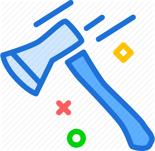 Axe, cut, weapon, wood icon.