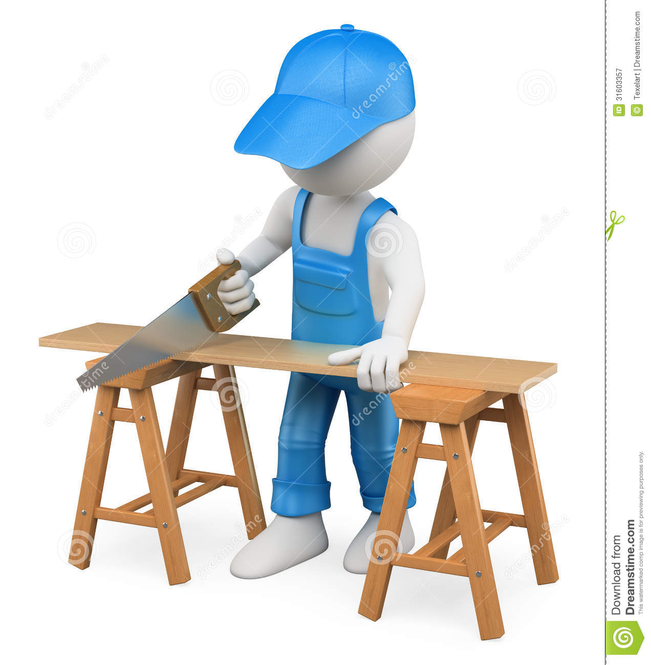 3D White People. Carpenter Cutting Wood With A Handsaw Royalty.