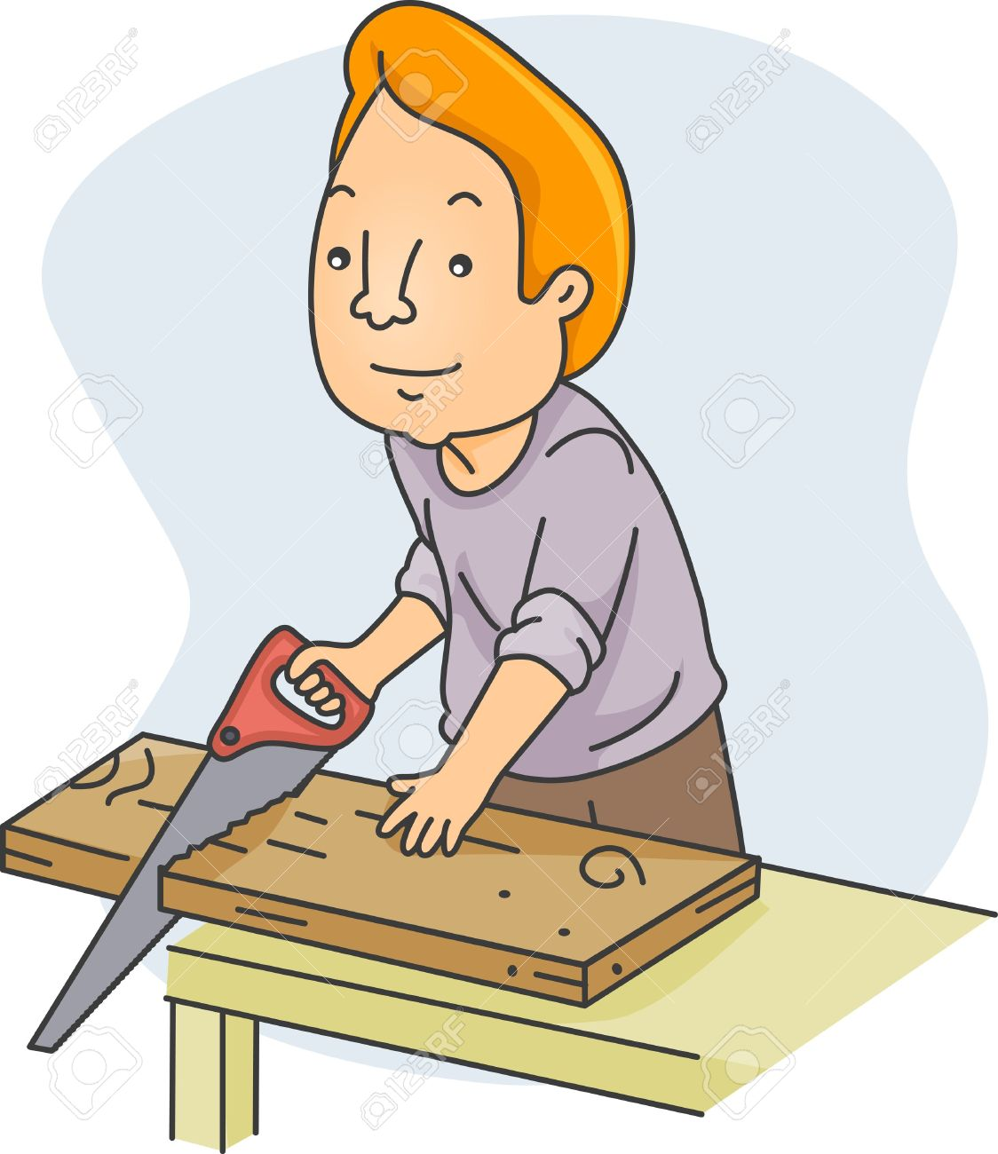 Illustration Of A Man Sawing Wood Stock Photo, Picture And Royalty.