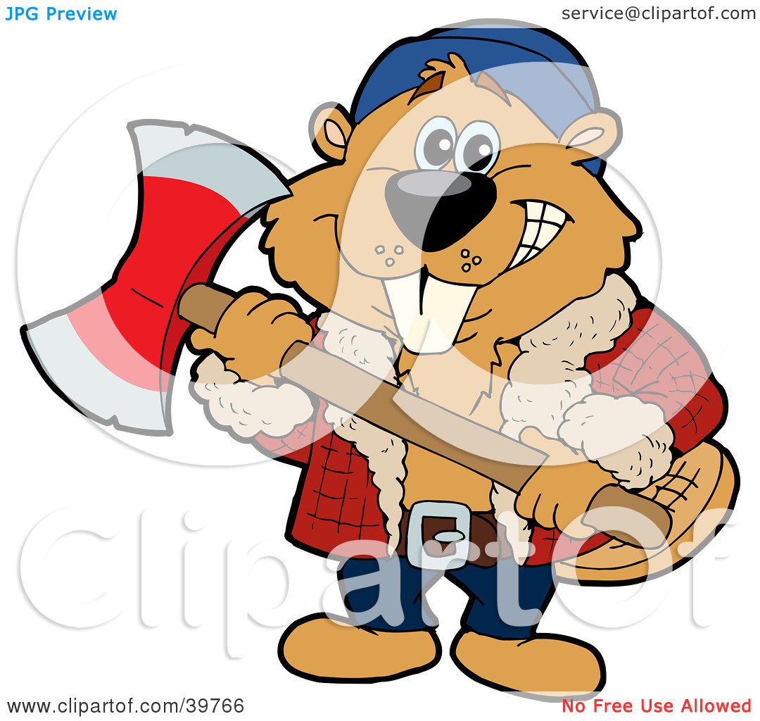Clipart Illustration of a Lumberjack Beaver Holding An Axe And.