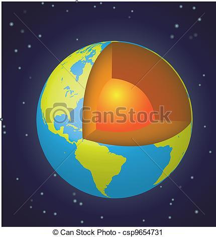 Vector Clip Art of Earth cut.