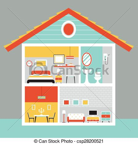 Vector Illustration of Cutaway House with Room and Furniture Flat.