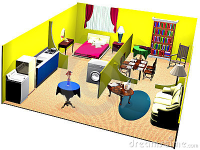 House Cutaway And Decoration In The Daytime Stock Illustration.