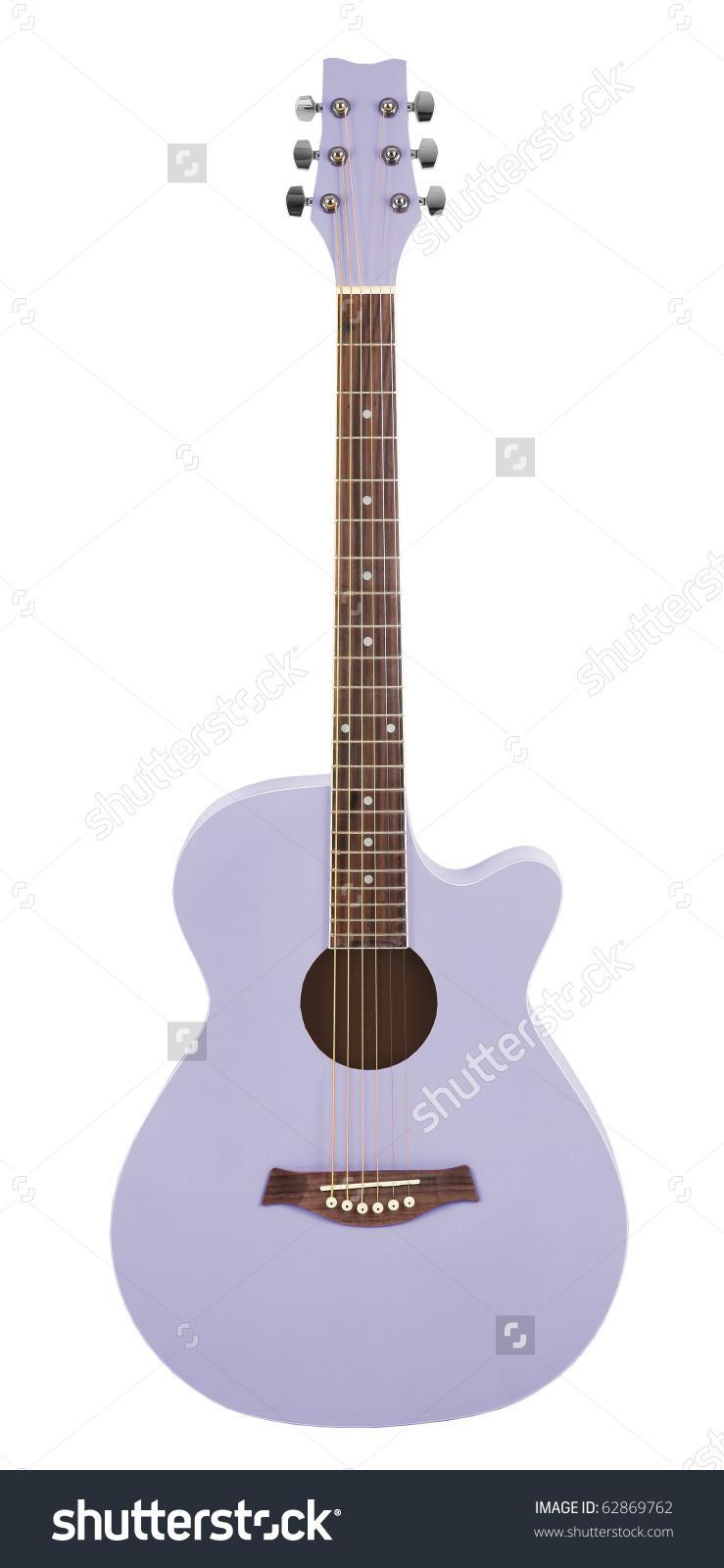 Pastel Purple Acoustic Cutaway Girlie Guitar Stock Photo 62869762.