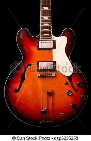 Pictures of Vintage Double cutaway semi hollow body guitar.
