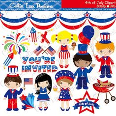 4th of July Baby Girl Clipart/ First Patriotic Day Clipart, Fourth.