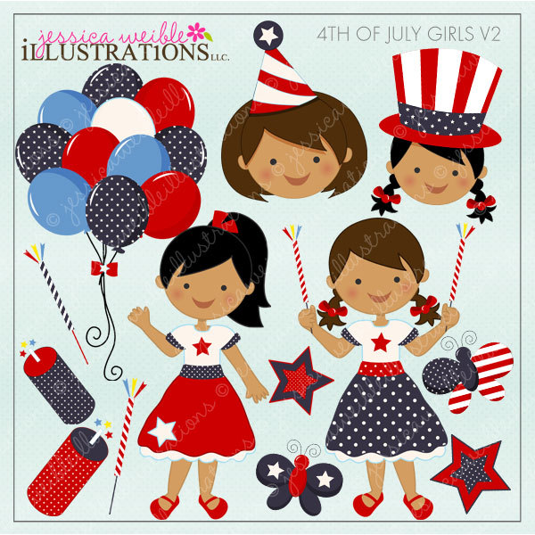 4th of July Girls V2 Dark Cute Digital Clipart for.