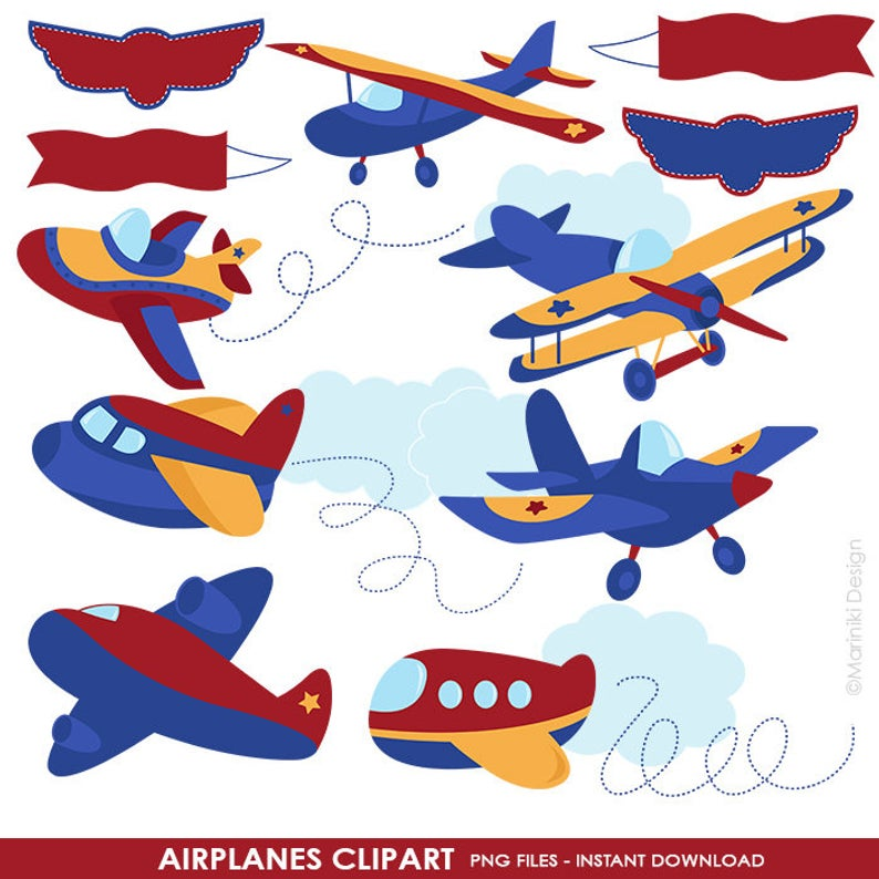 Airplane Clipart, Cute Airplane Graphics, Airplane Clip Art, Images of  Planes, Planes Cliparts, Red Jet Plane INSTANT DOWNLOAD CLIPARTS C1.
