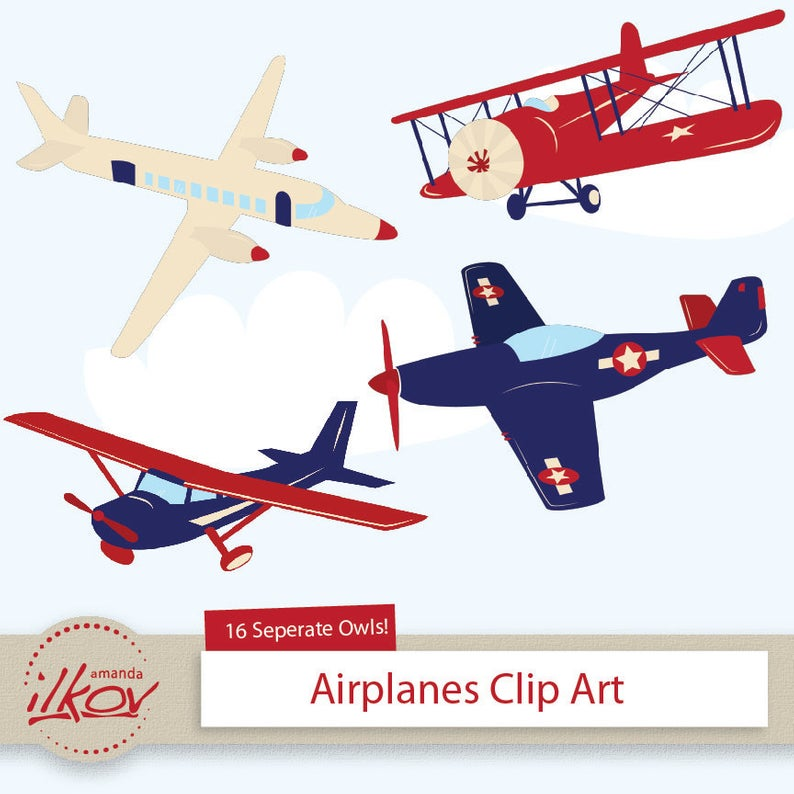 Professional Kids Airplane Clipart for Digital Scrapbooking, Crafting,  Invitations, Web Design and More.