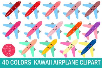 40 Kawaii Airplane Clipart.