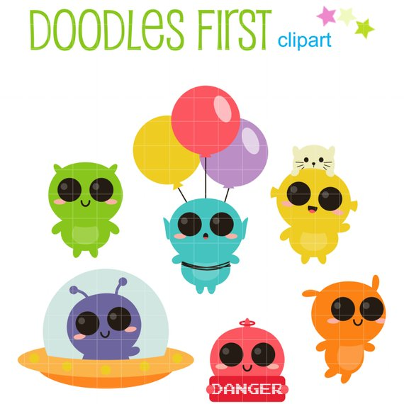 Cute Aliens Clip Art for Scrapbooking Card Making Cupcake Toppers.