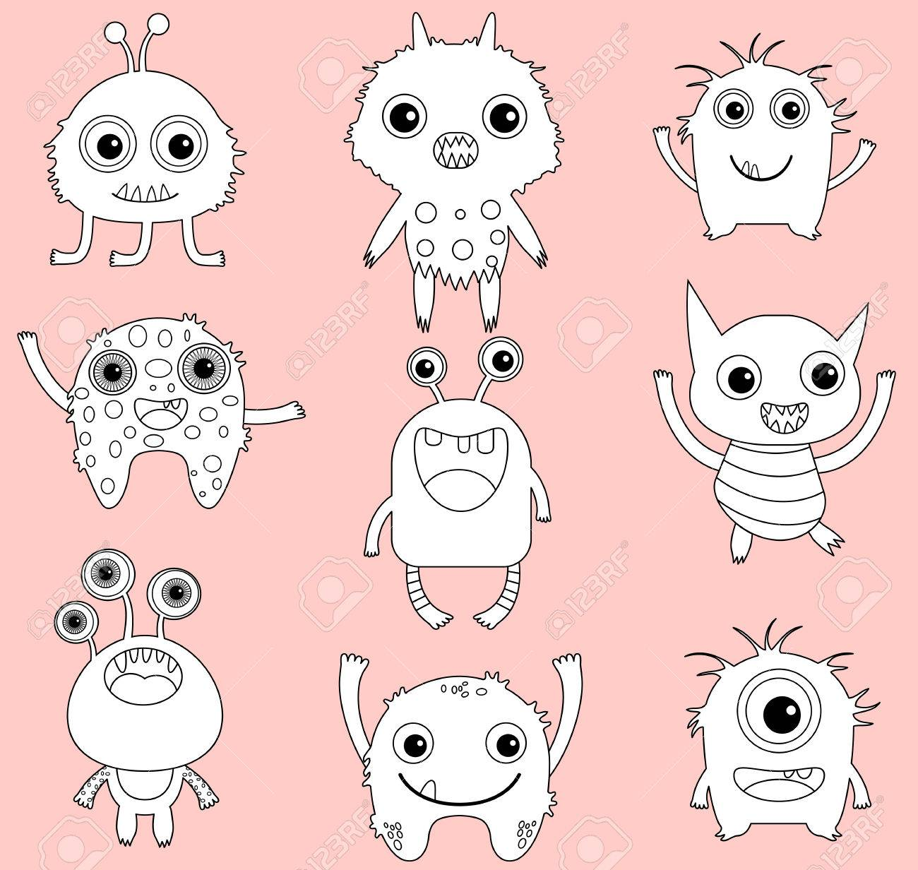 A set of cute vector monsters or aliens clip art with black outline...