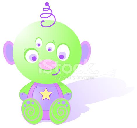 Cute Baby Alien Clipart Stock Vector.