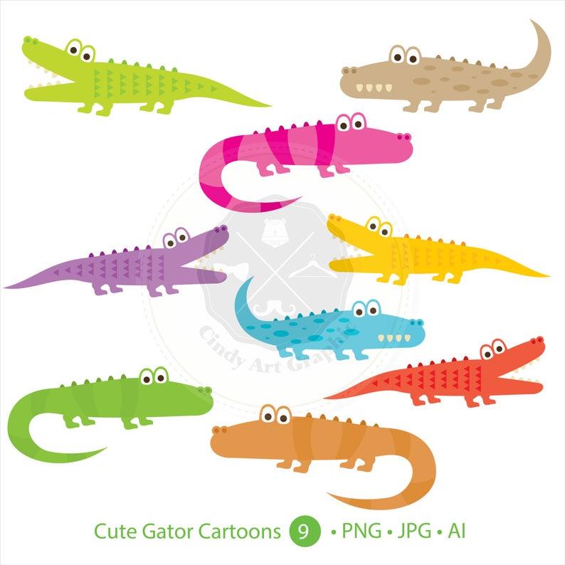 Cute Gator Cartoons Clipart,alligator clipart,digital download.
