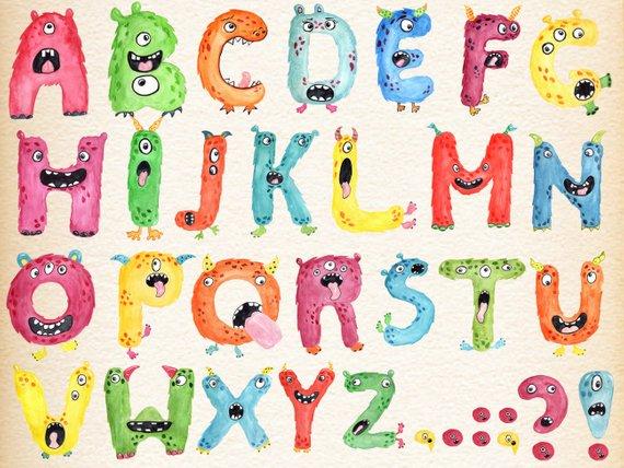 Monster kids alphabet clipart: