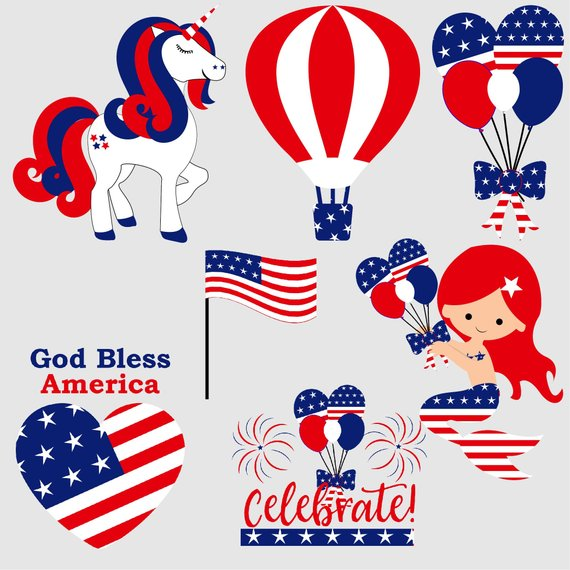 4th of july clipart, unicorn clip art, independance day.