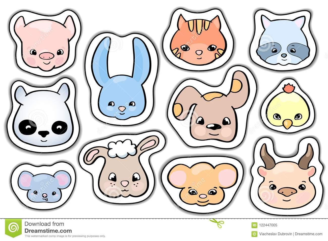 Cute Animals Stickers. Smile Animal Head Vector Clipart. Handdrawn.