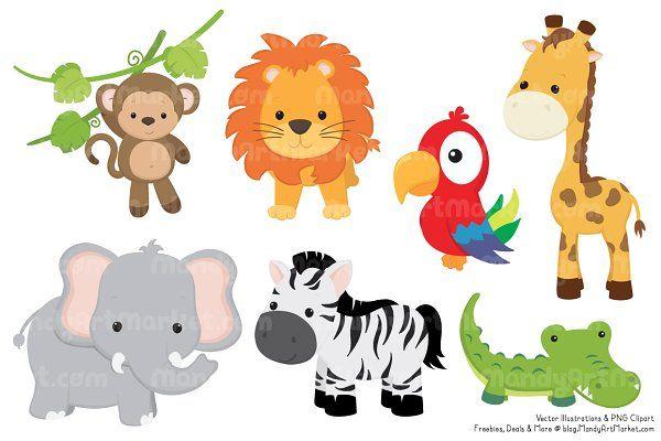 Cute Jungle Animal Clipart.