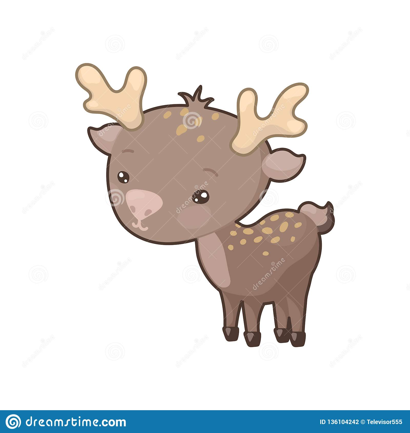 Cute Deer Colorful Icon On White Background. Woodland Animal Clipart.