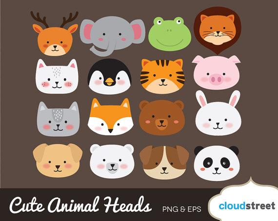 BUY 2 GET 1 FREE Cute Animal Head clipart / cute animal clipart.