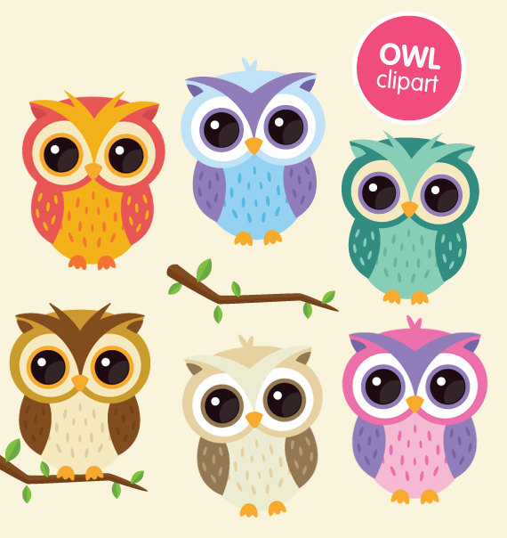 Owl clipart commercial use digital animal clip art by ColorPlanet.