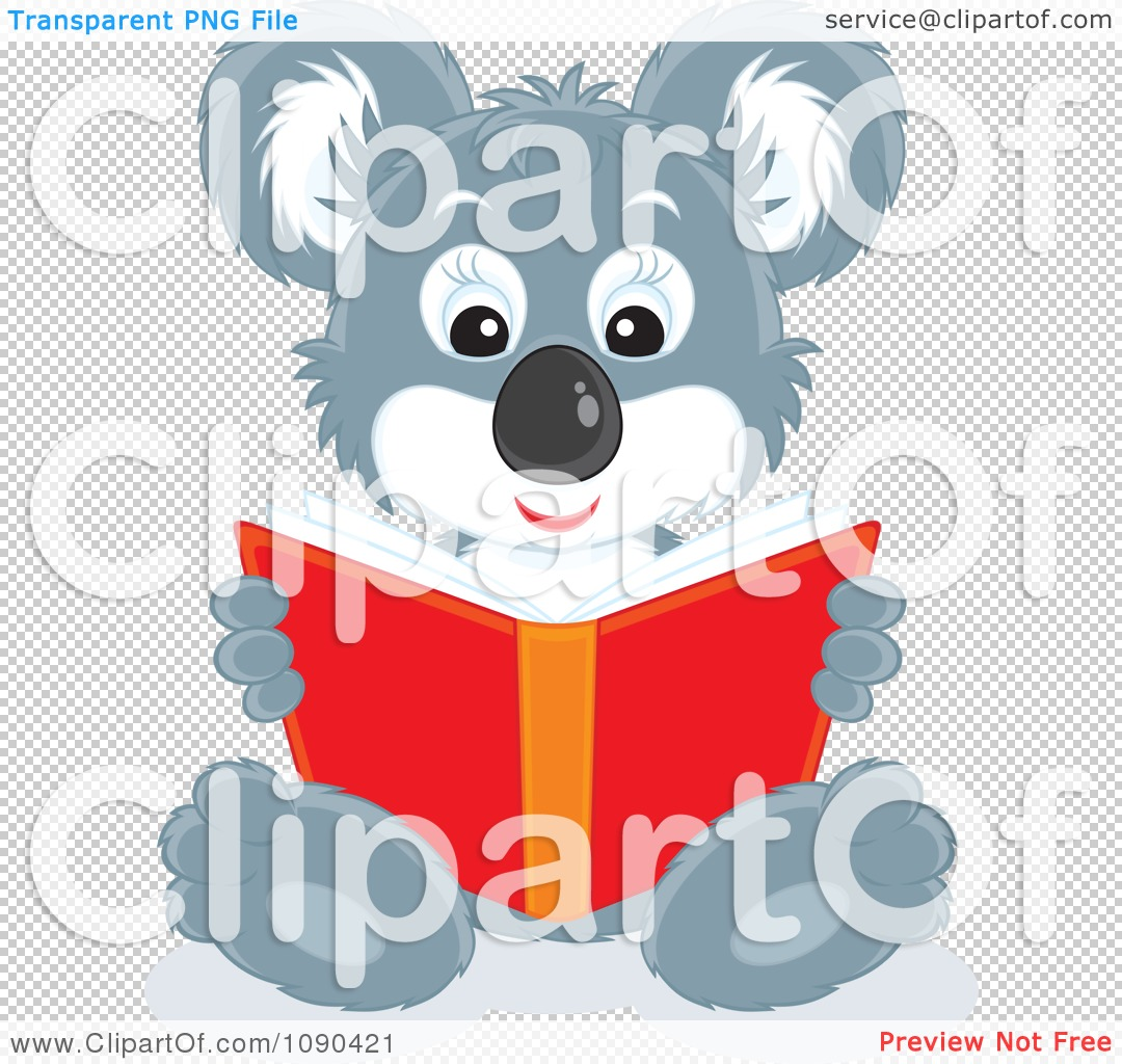 Clipart Cute Koala Sitting And Reading A Book.