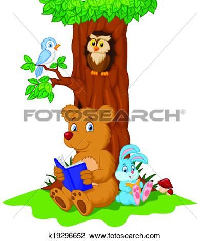 Clipart of Cute animals cartoon reading book k19296652.